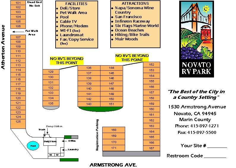 Novato RV Park Site Map